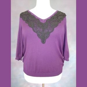 Lane Bryant Purple Black Lace Sweater 22/24